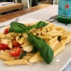 Penne with tomato, mozzarella, and basil